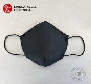 Mascarillas higiénicas reutilizables homologadas para adultos y niños de color negro, foto de frente.