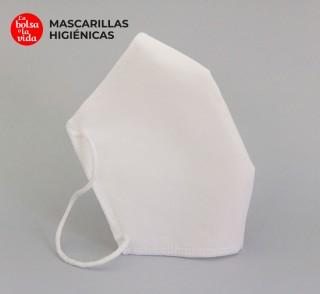 Mascarilla homologada reutilizable de 5 capas, color blanco, parte lateral. Norma UNE 0065. AITEX