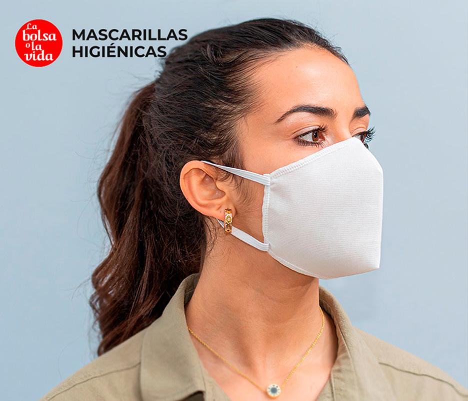 Mascarilla higiénica reutilizable de 5 capas color blanco